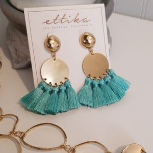 Ettika blue tassel earings NWT